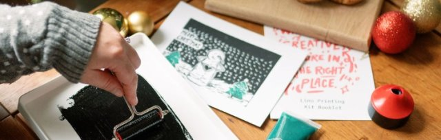 Lino print your own Christmas cards and wrapping paper
