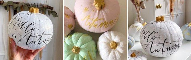 Modern Calligraphy on Pumpkins