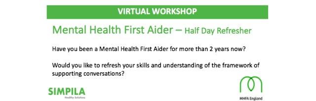 MHFA - Virtual 4 hour Refresher (Matt Holman) - Only £100 + VAT