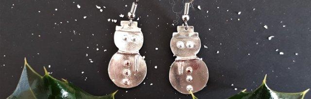 Silver Clay Festive Snowman Earrings with Wizz Stearne - £40